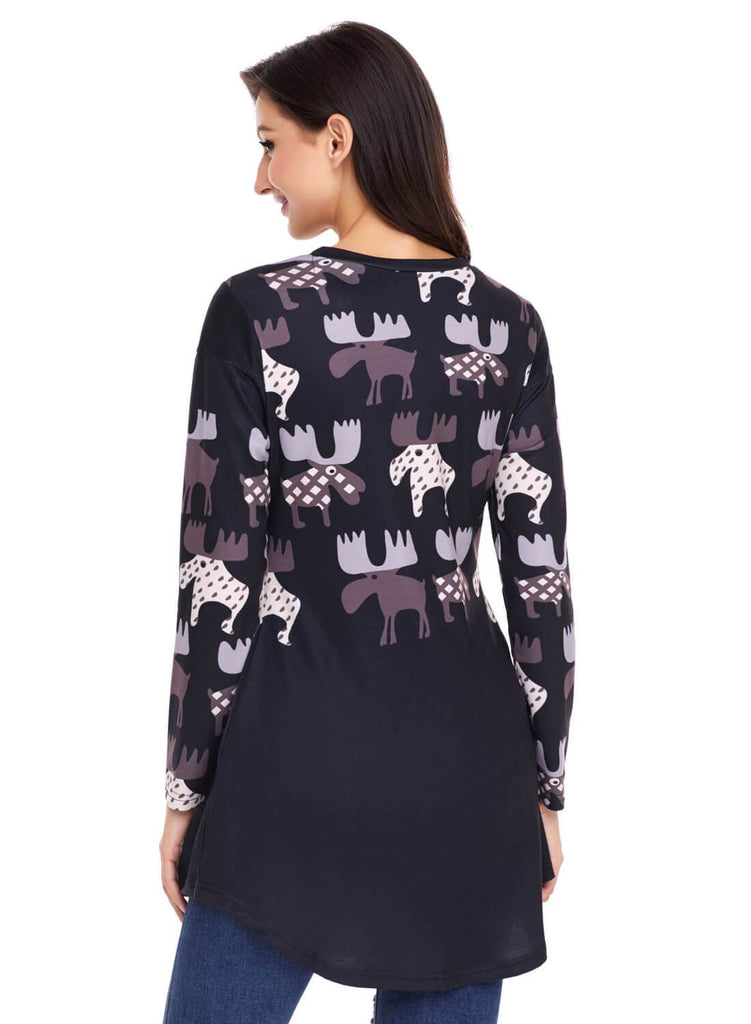 Cartoon Reindeer Print Mauve Christmas Top (LC250594-2-2)
