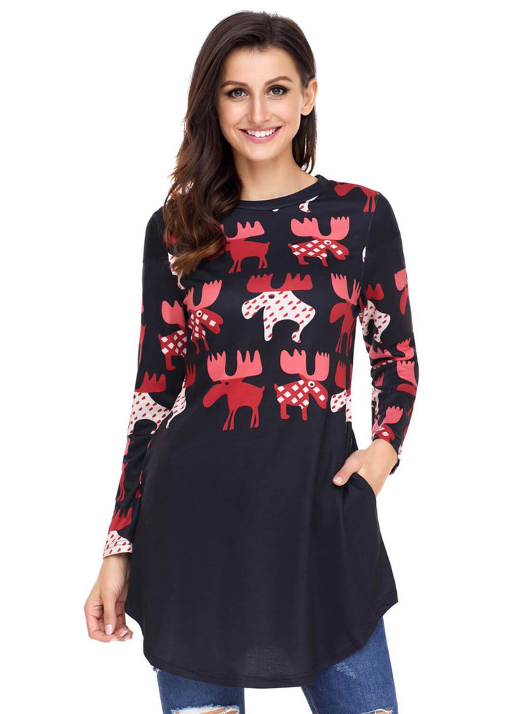 Cartoon Reindeer Print Mauve Christmas Top (LC250594-22-1)