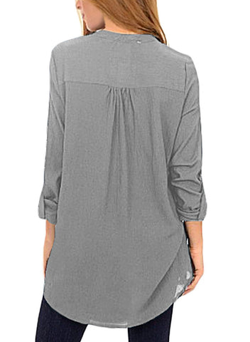Image of Asymmetric Hemline Roll Tab Sleeve Blouse