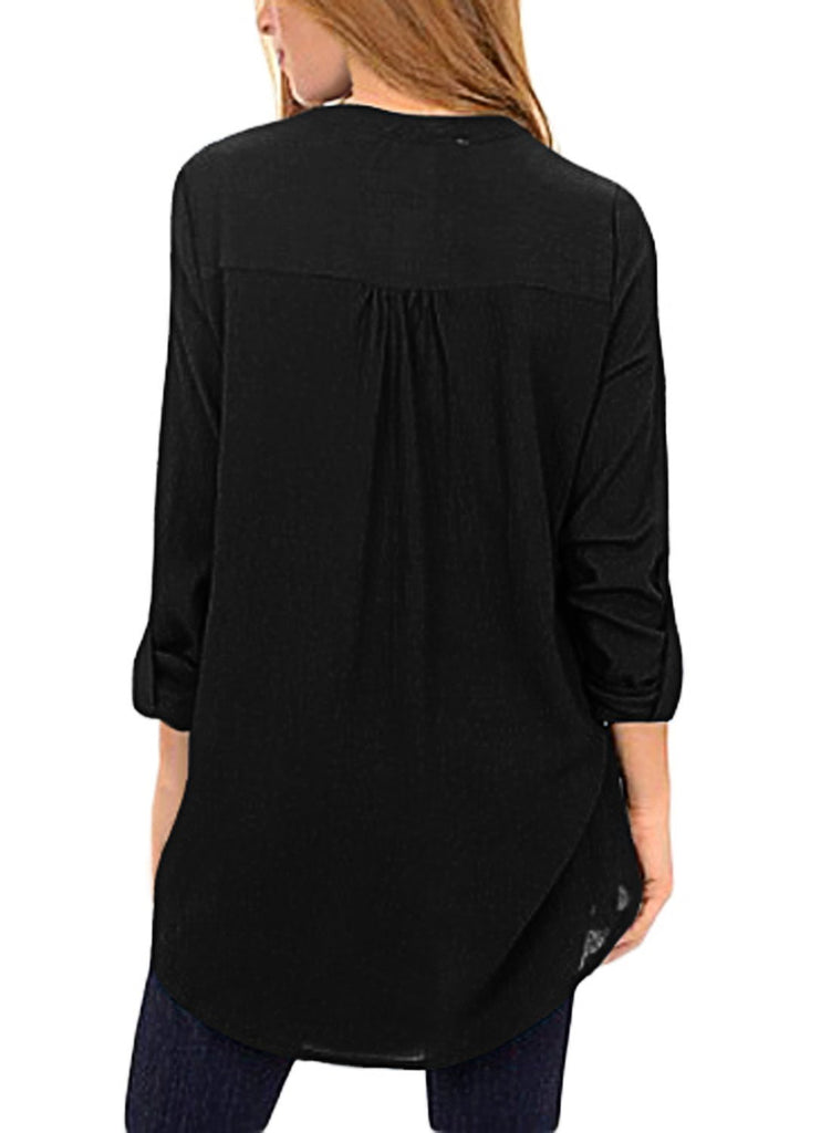 Asymmetric Hemline Roll Tab Sleeve Blouse