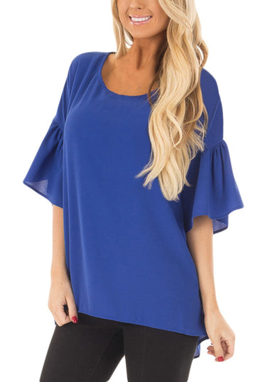 Royal Blue Short Bell Sleeves Sheer Blouse