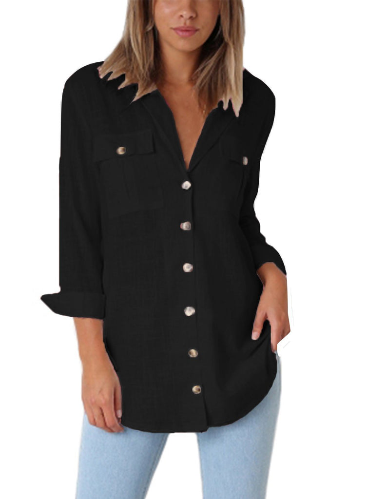 Buttoned Pockets Shawl Collar Blouse (LC251084-2-1)