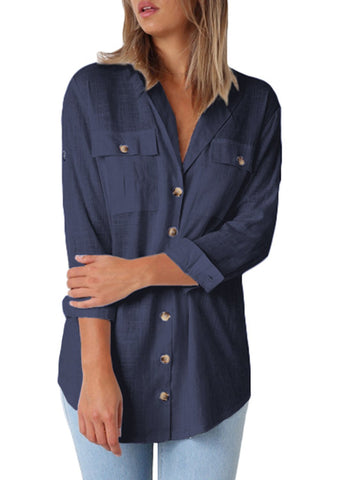 Image of Buttoned Pockets Shawl Collar Blouse