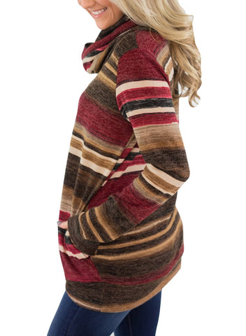 Image of Cowl Neck Striped Sweatshirt