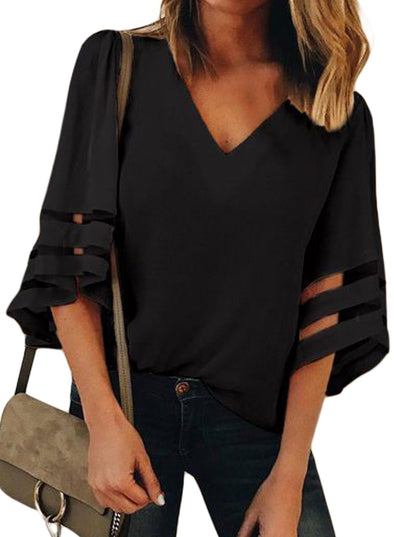 Flare Sleeve V Neck Loose Blouse (LC251204-1-1)