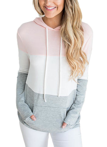 Image of Atop Triple Colorblock Pullover Hoodie