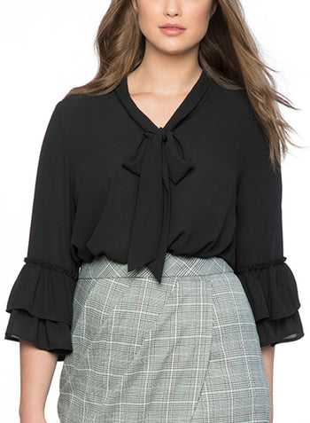 718b7711b362f LC251325-2-1 Tie Neck Ruffle Sleeved Plus Size Blouse