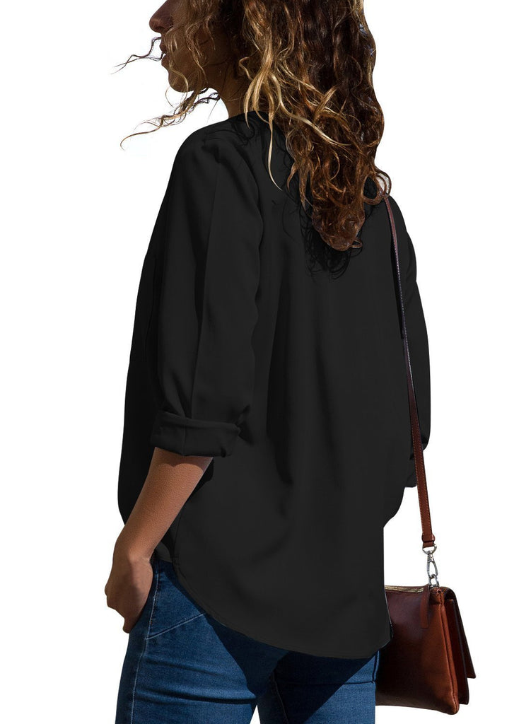 Pockets V-Neck Long Sleeve Blouse