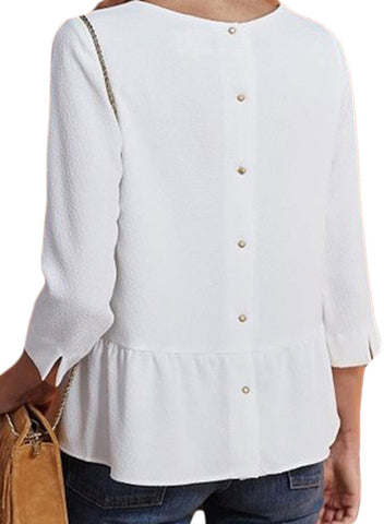 Image of Button Back Lapel V Neck Blouse (LC251339-1-2)