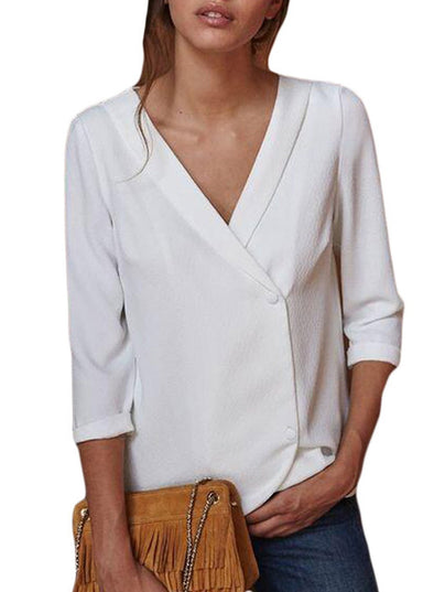 Button Back Lapel V Neck Blouse (LC251339-1-1)