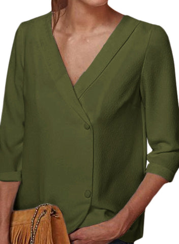Image of Button Back Lapel V Neck Blouse (LC251339-9-1)