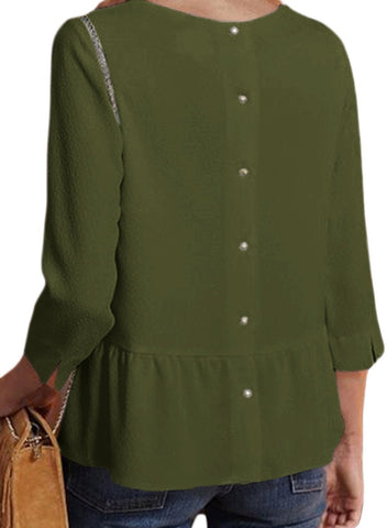 Image of Button Back Lapel V Neck Blouse (LC251339-9-2)