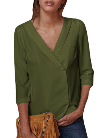 Image of Button Back Lapel V Neck Blouse (LC251339-9-3)