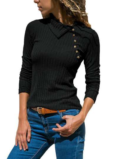 Ribbed Knit Turn Down Collar Top