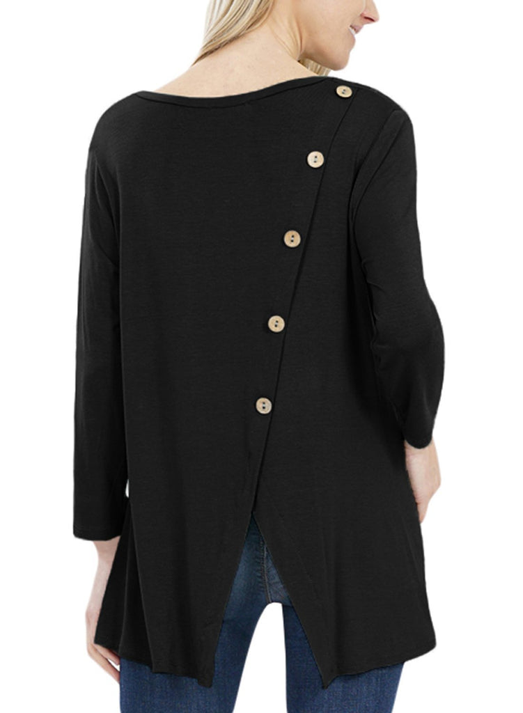 Button Back Long Sleeve Tunic Top (LC251458-2-1)