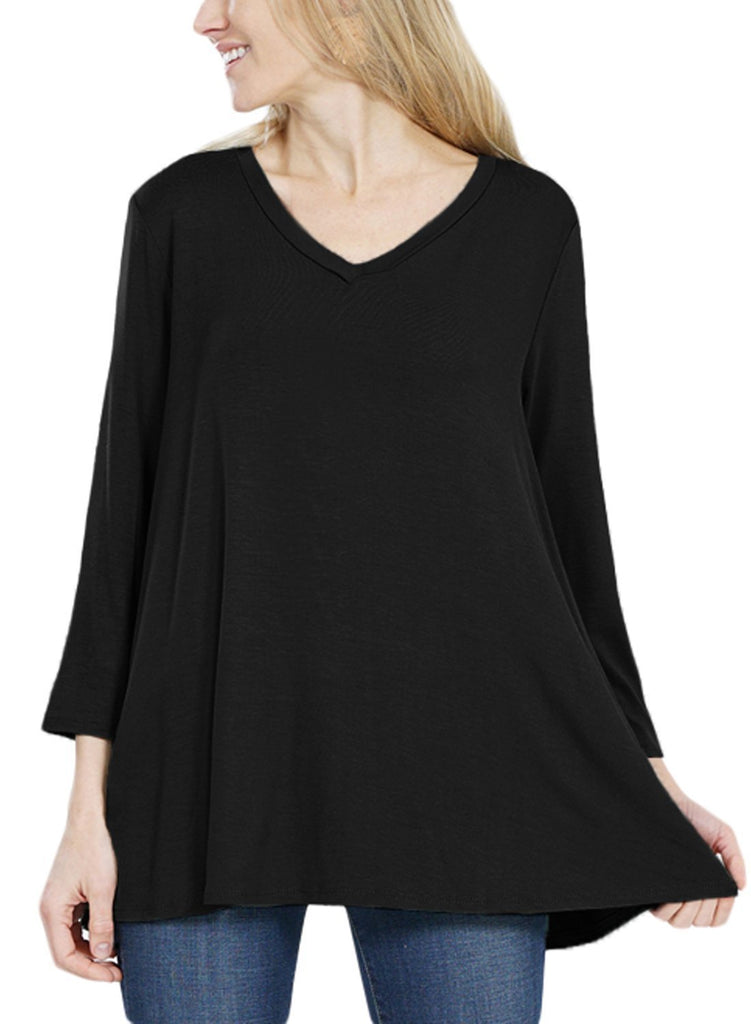 Button Back Long Sleeve Tunic Top (LC251458-2-2)