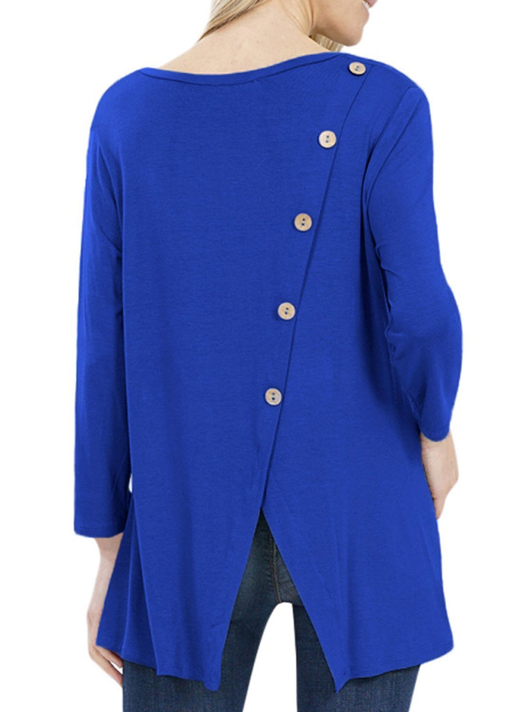 Button Back Long Sleeve Tunic Top (LC251458-5-1)