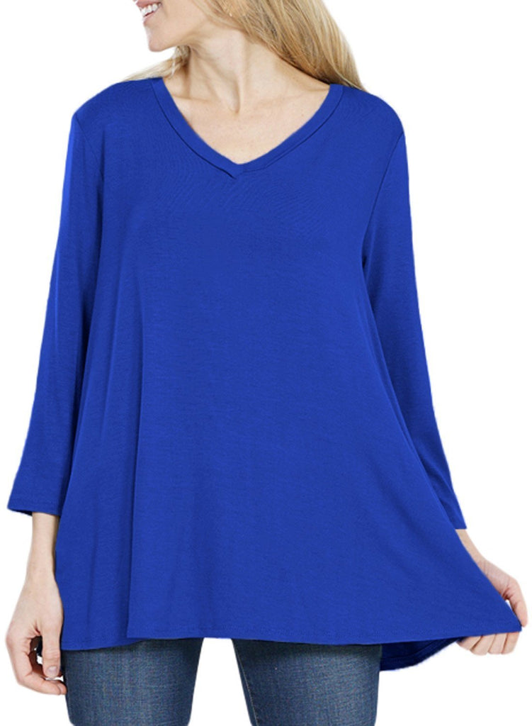 Button Back Long Sleeve Tunic Top (LC251458-5-2)