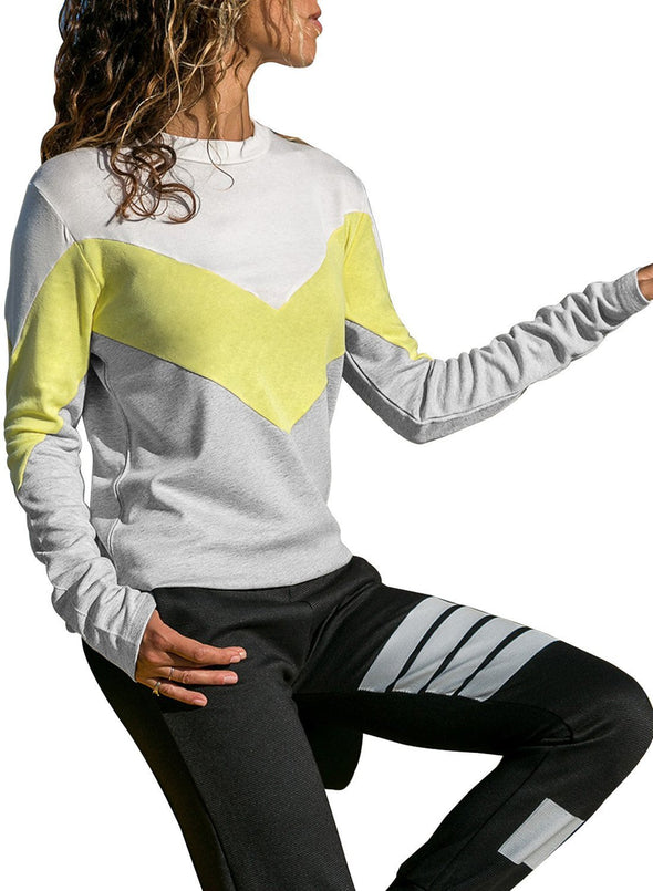Chevron Colorblock Long Sleeve Top (LC251505-7-1)
