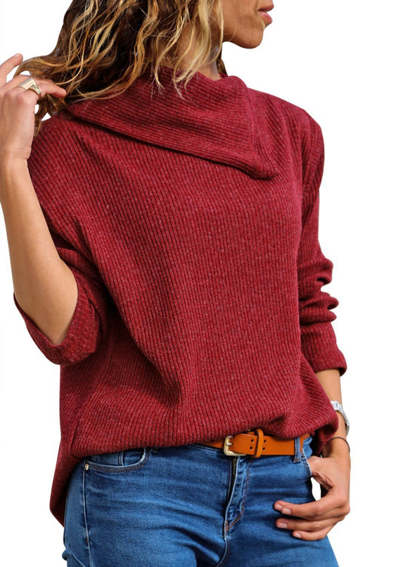 Cowl Neck Ribbed Knit Top (LC251520-3-1)