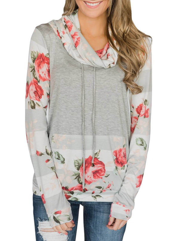 Floral Striped Sweatshirt