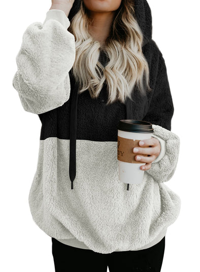 Color Block Furry Hoodie (LC251527-2-1)