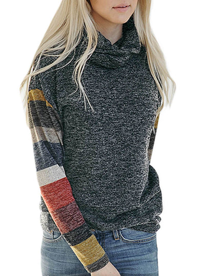 Color Blocked Long Sleeve Cowl Neck Sweatshirt (LC251618-2-1)