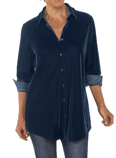 Velvet Loose Button-down Shirt (LC251735-5-1)