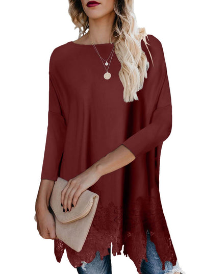 Lace Splice 3/4 Sleeve Loose Blouse (LC251740-3-1)