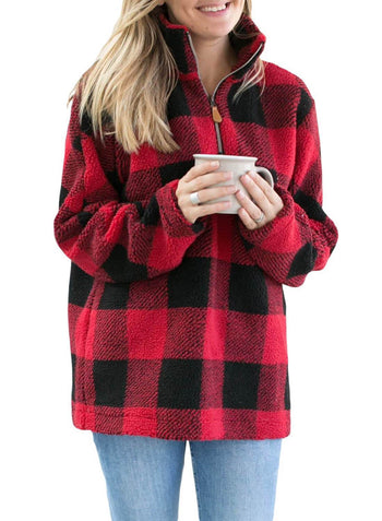 Stand Collar Loose Plaid Pullover Sweatshirt