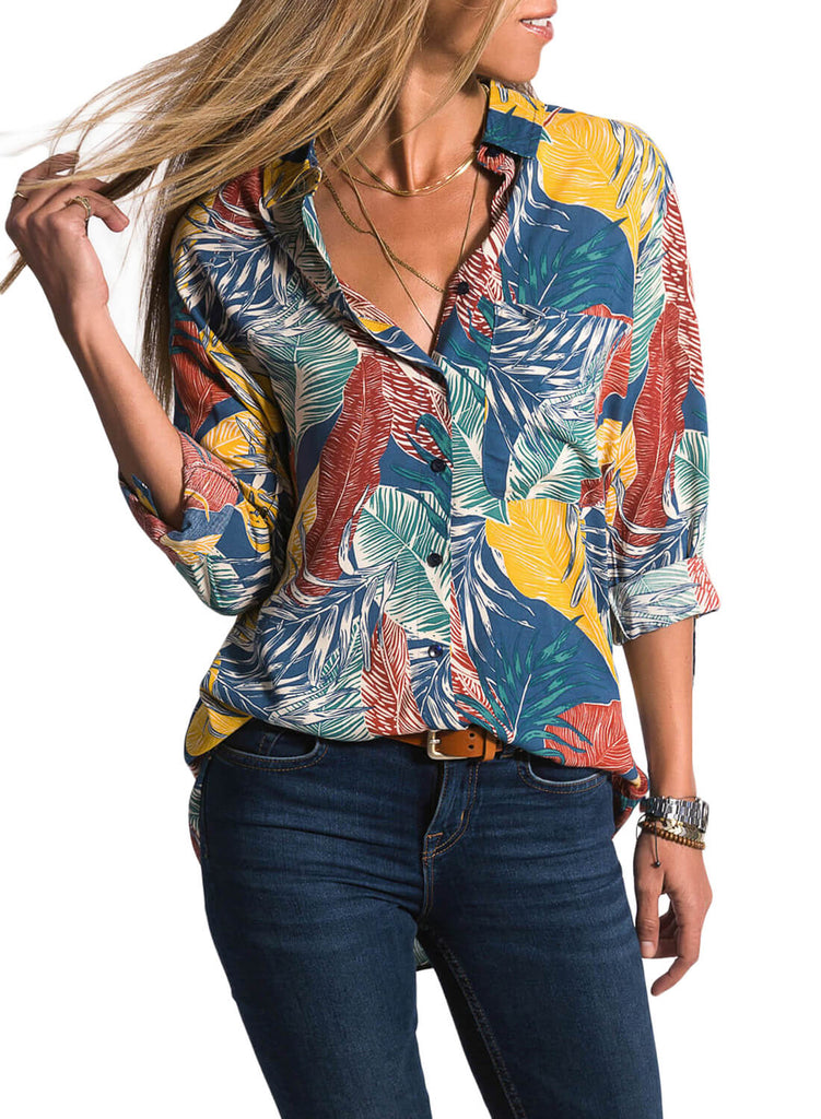 Casual Tropical Button-down Shirts (LC251807-22-1)