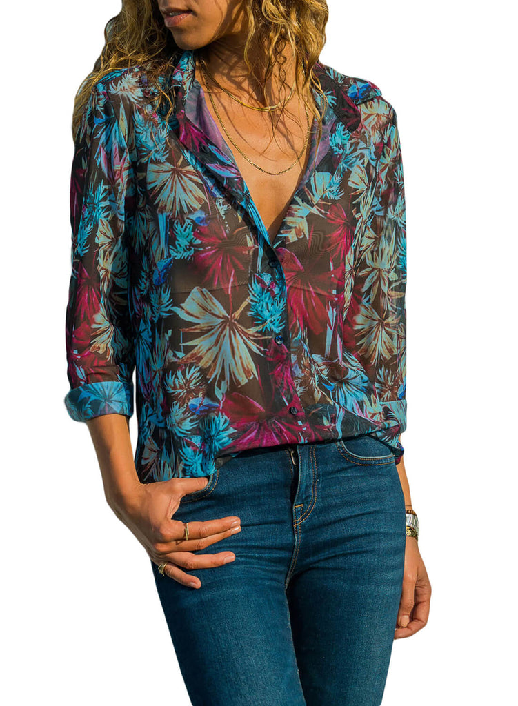Casual Tropical Button-down Shirts (LC251807-5-1)