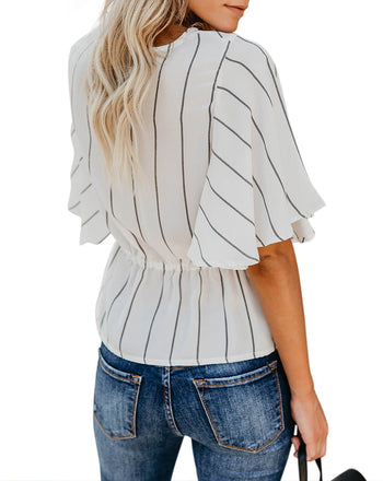 Twist Knot Detail Ruffle Sleeve Blouse