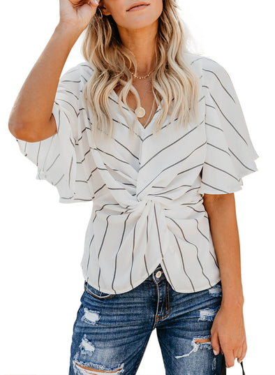 Twist Knot Detail Ruffle Sleeve Blouse (LC251896-1-1)