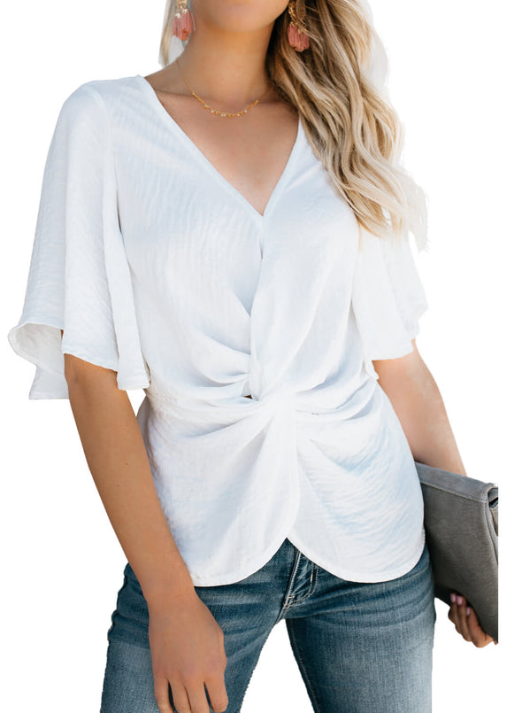 Solid Crepe Half Sleeve Top (LC251951-1-1)