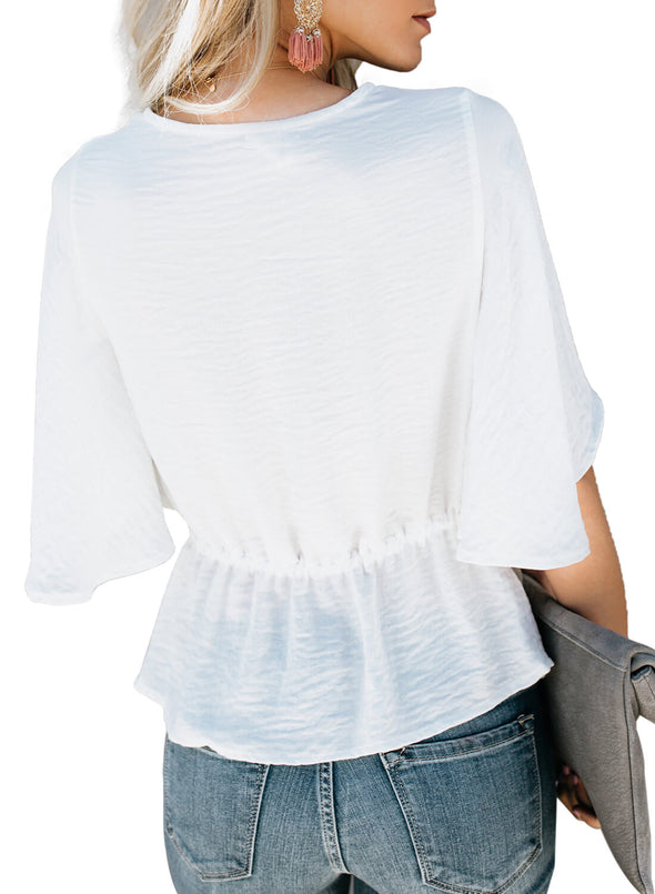 Solid Crepe Half Sleeve Top (LC251951-1-3)