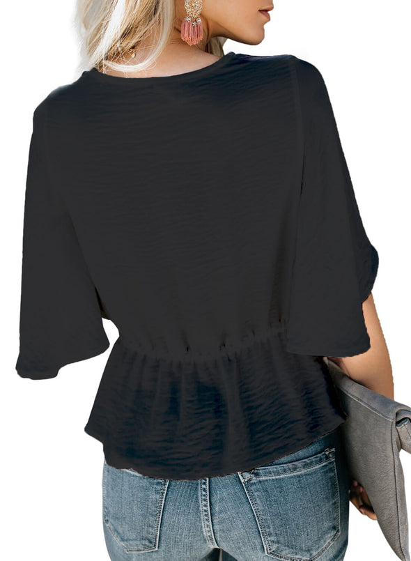 Solid Crepe Half Sleeve Top (LC251951-2-2)