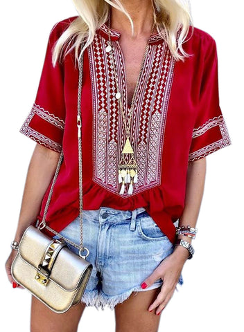Casual Printed Short Sleeve V neck Ethnic Style Plus Size Blouse(LC251978-3-2)