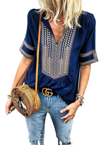 Casual Printed Short Sleeve V neck Ethnic Style Plus Size Blouse(LC251978-5-1)