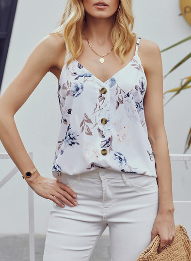 Single-breasted V-neck Floral Tank Top (LC251993-1-1)
