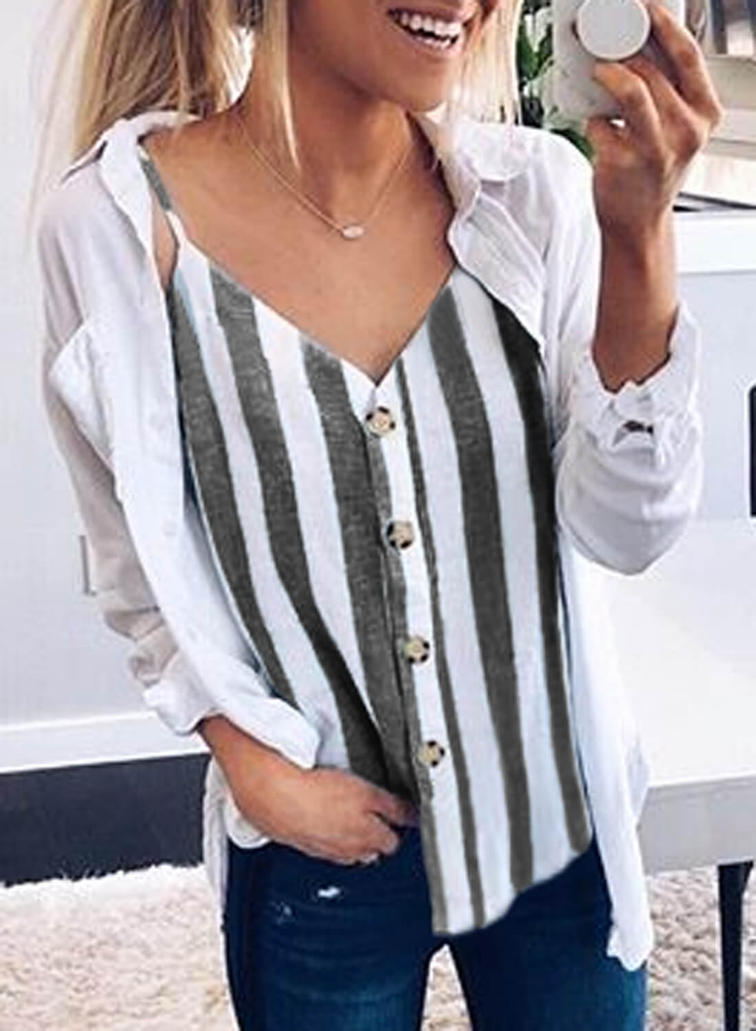 V-neck Single-breasted Vertical stripe Tank Tops