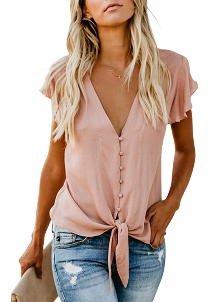 Forever Tonight Button Down Tie Top (LC252060-10-1)