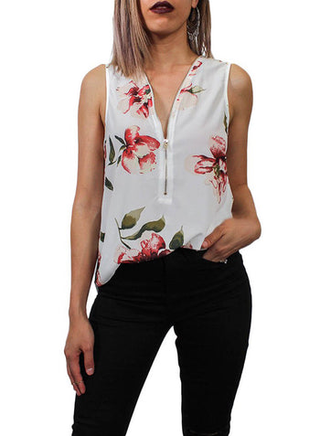 V Neck Zip Up Tank Tops Sleeveless Shirts Chiffon Blouse (LC252081-1-1)
