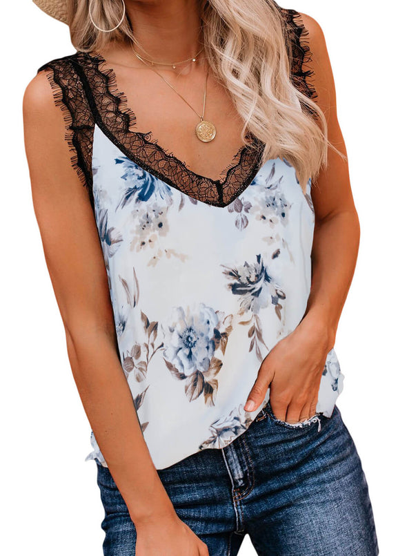 Print Floral Lace Patchwork Tank Top (LC252090-1-1)