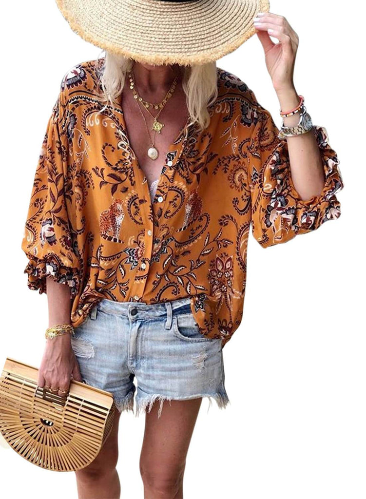 Floral Print V-neck Loose Casual Blouse (LC252354-14-1)