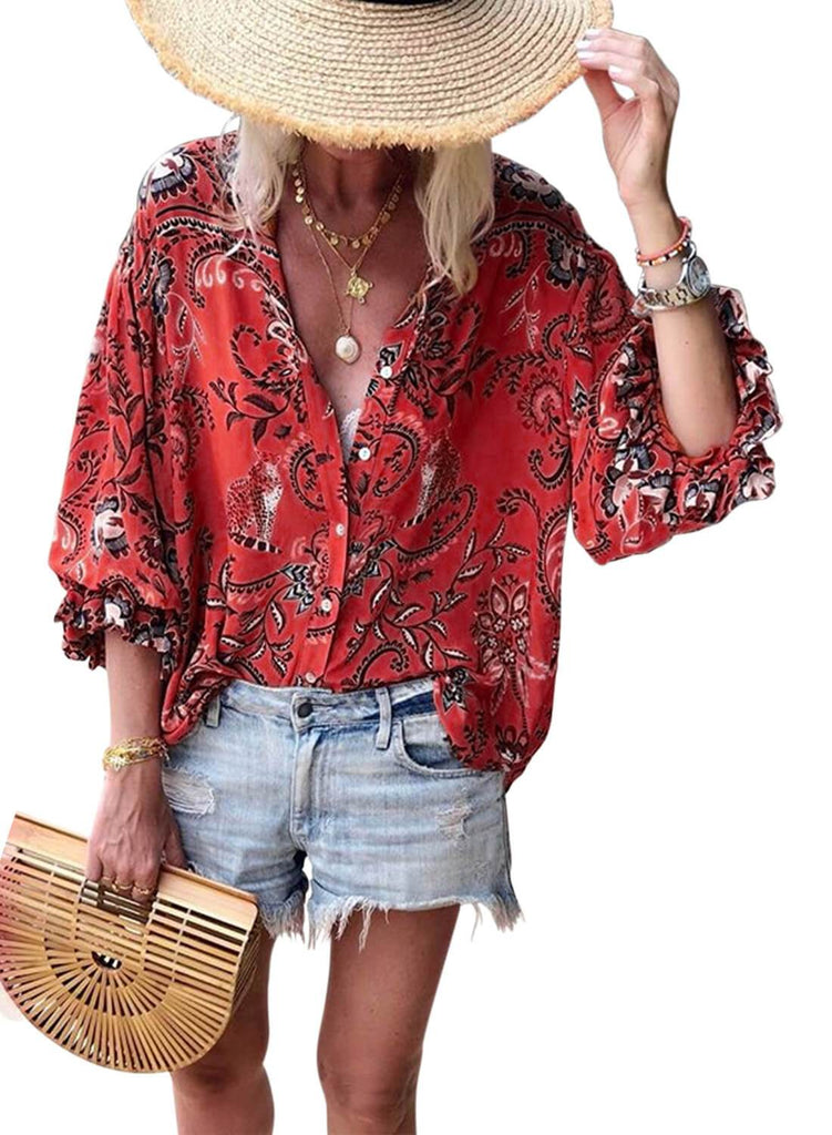 Floral Print V-neck Loose Casual Blouse (LC252354-3-1)