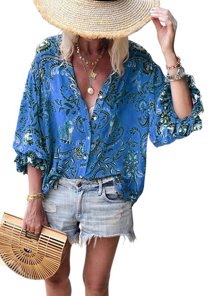 Floral Print V-neck Loose Casual Blouse (LC252354-5-1)