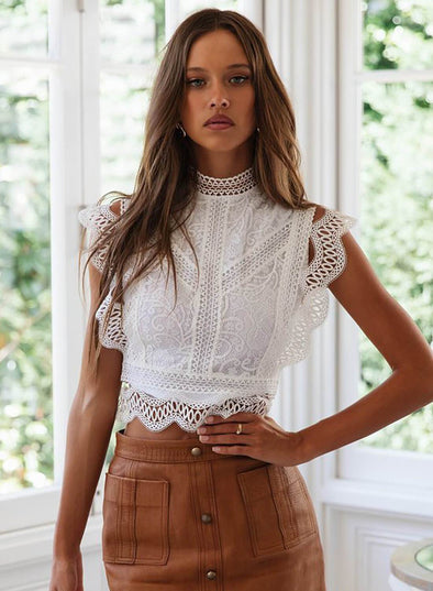 High Collar Vintage Lace Vest