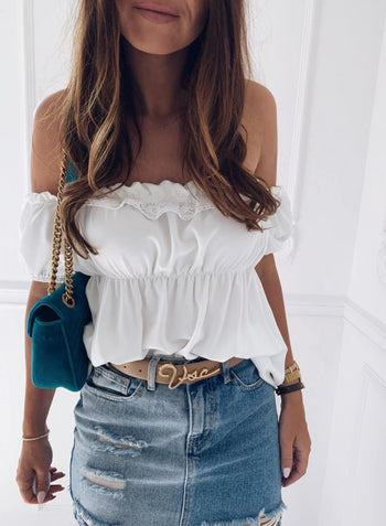 Off The Shoulder Ruffled Crop Top