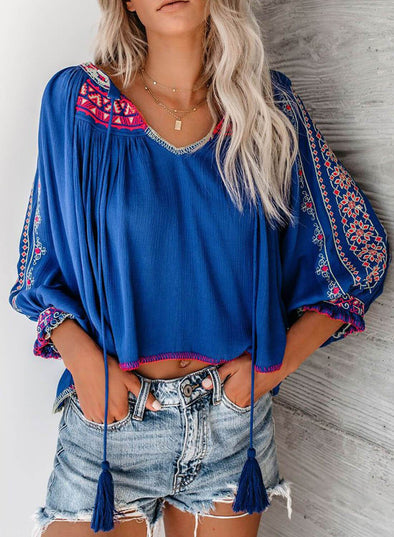 3/4 Sleeve Puff Sleeve Embroidery Blouse